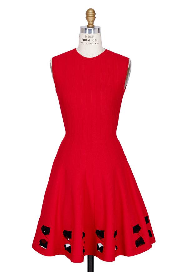 Alexander McQueen Red & Black Twist Cut-Out Trim Sleeveless Dress