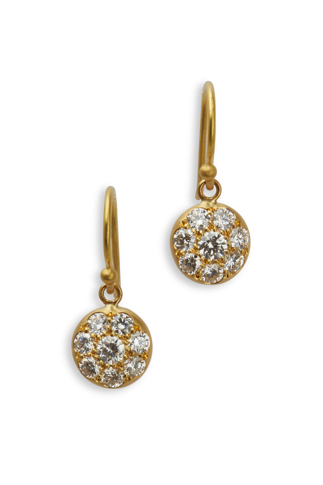 Yellow Gold White Diamond Lentil Earrings