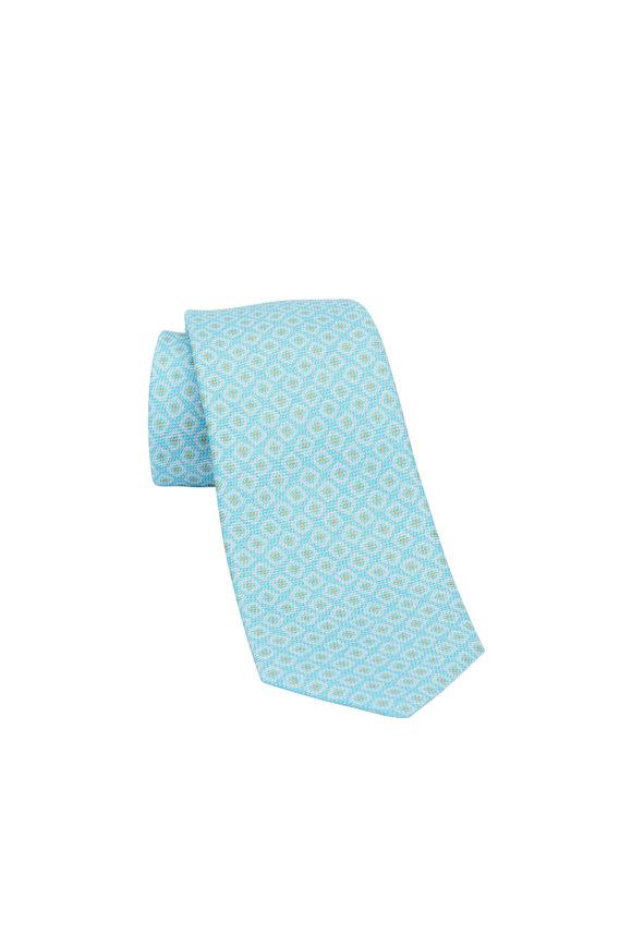 Kiton Turquoise Geometric Silk Necktie