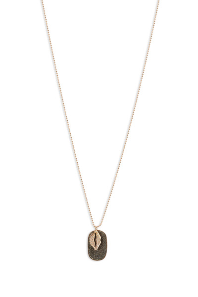 Tulah Jem - Rose Gold Lips Black Diamond Tag Necklace