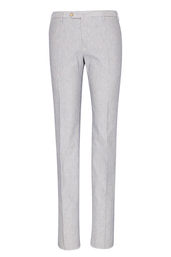 PT01 Navy & White Striped Slim Pant