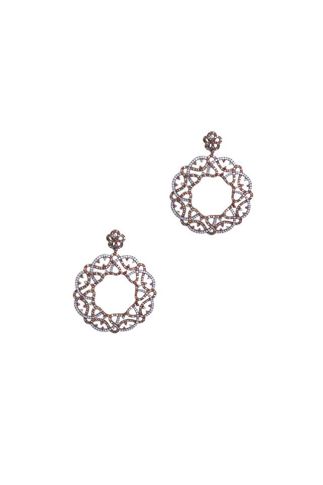 White Gold Sapphire Diamond Earrings