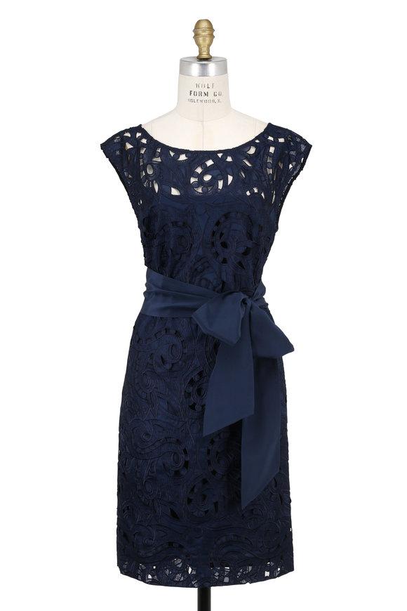 Escada Davitanas Navy Open Lace Cap Sleeve Dress