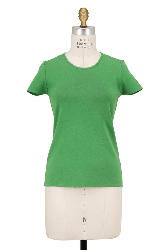 Escada Sovas Green Stretch Knit Short Sleeve Top