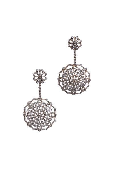 Bochic - White Gold Diamond Snowflake Earrings