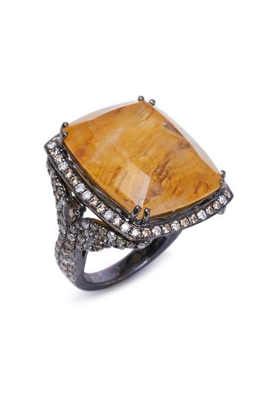 Bochic - Yellow Gold Moss Agate Diamond Ring