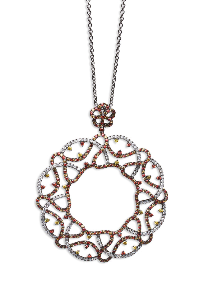 Gold Orange & Yellow Sapphire Diamond Pendant