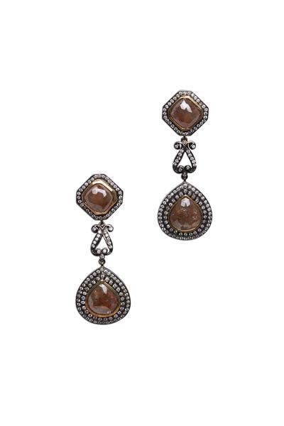 Loren Jewels - Sterling Silver Drop Diamond Earrings