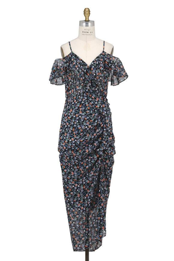 Veronica Beard Marilyn Black Ruffled Cold-Shoulder Midi Dress