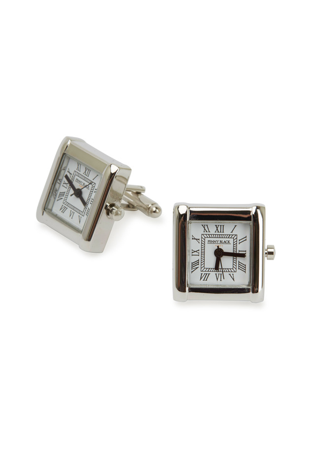Sterling Silver Square Watch Cuff Links