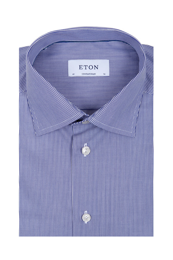 Eton Blue & White Striped Contemporary Fit Dress Shirt