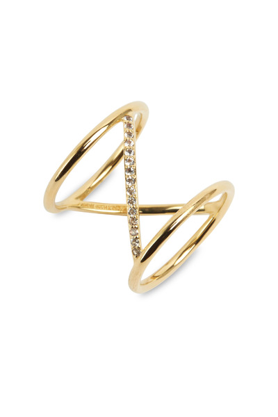 Elizabeth & James - Yellow Gold White Topaz Velde Ring