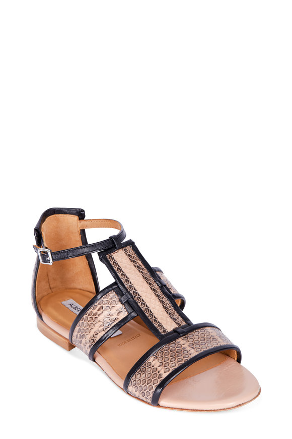 Alberto Fermani Alicia Black & Nude Watersnake Flat Sandal