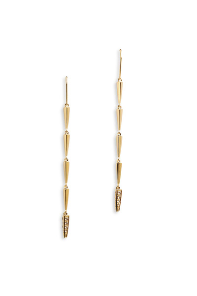 Elizabeth & James - Bauhaus Gold White Topaz Vogel Long Drop Earrings