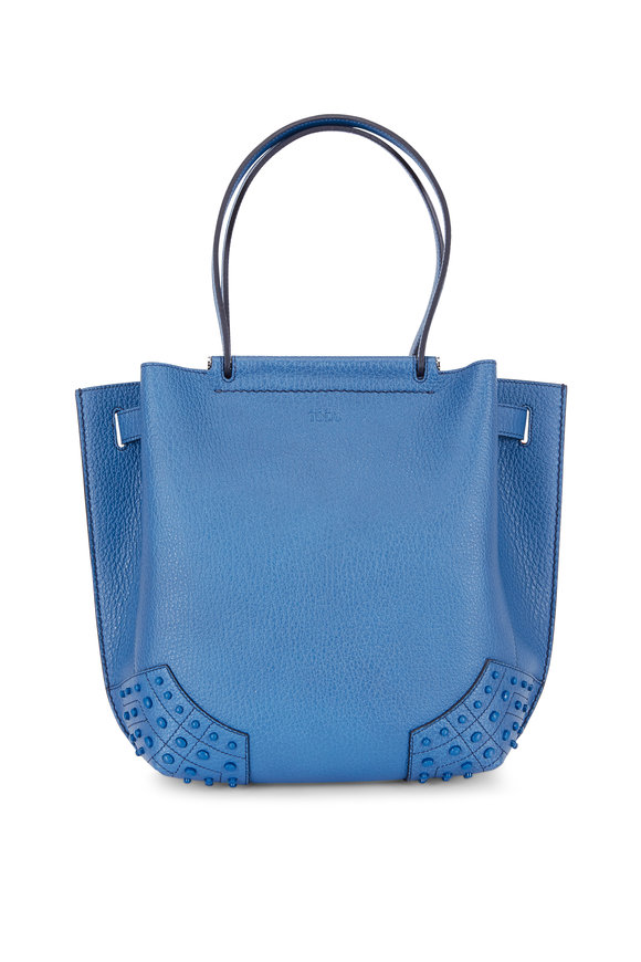 Tod's Wave Blue Pebbled Leather Small Tote
