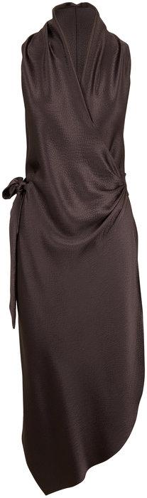 Peter Cohen Victor Slate Hammered Satin Silk Wrap Dress