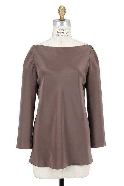 Peter Cohen - Taupe Four-Ply Silk Bateau Neck Top