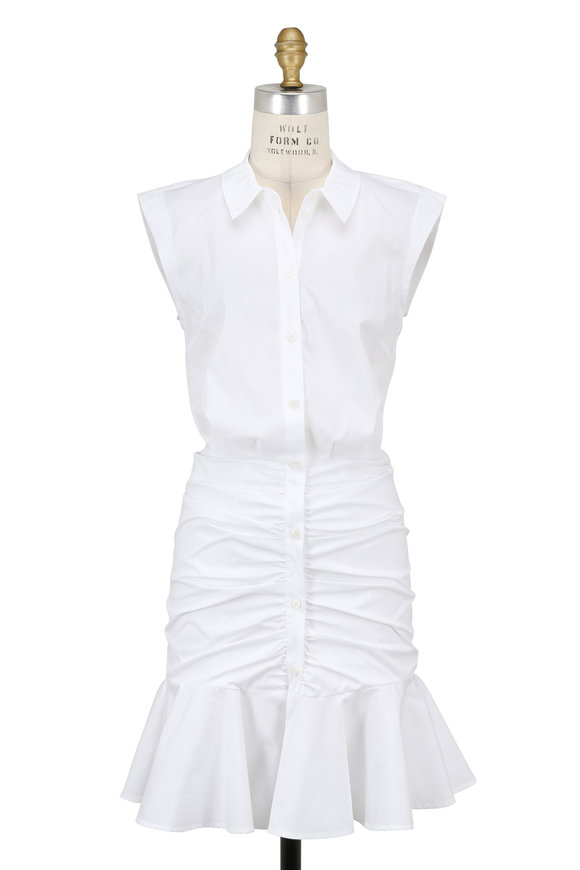 Veronica Beard White Bell Button Down Ruched Shirtdress