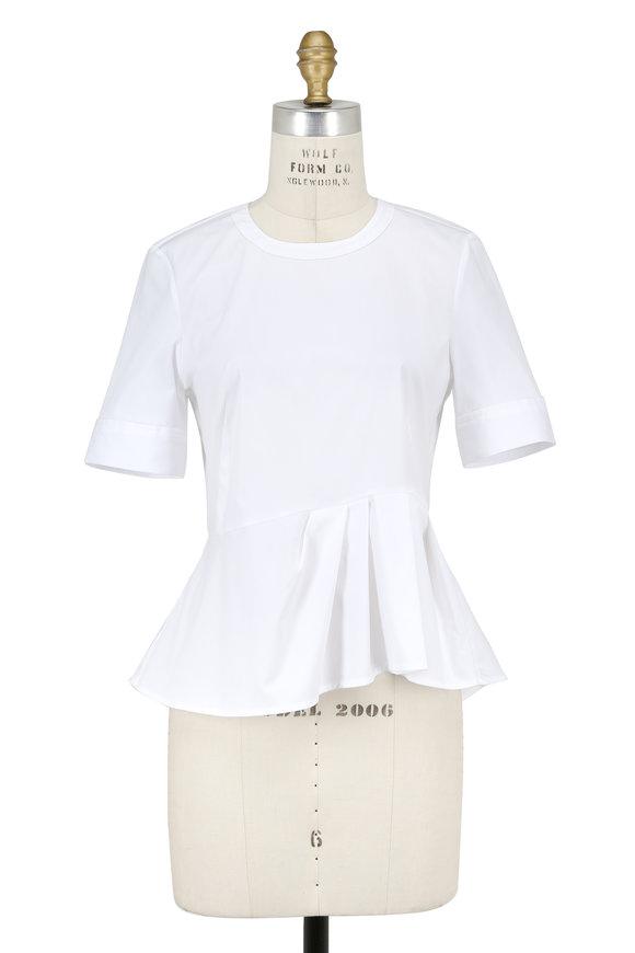 Veronica Beard White Stretch Poplin Short Sleeve Peplum Top