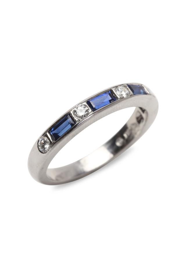 Platinum Blue Sapphire & White Diamond Guard Ring