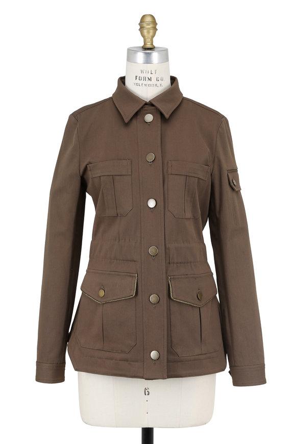 Veronica Beard Army Green Twill Camp Jacket