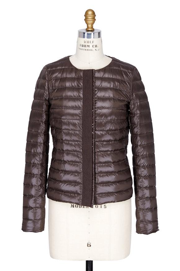 Herno Brown Nylon & Sequin Placket Jacket