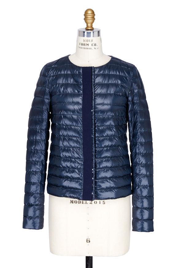 Herno Navy Blue Sequin Placket Collarless Jacket