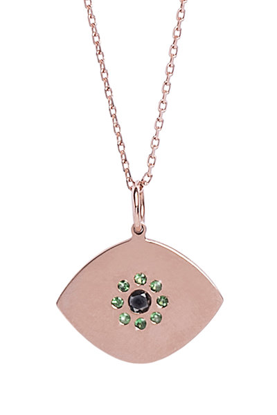 Genevieve Lau - Rose Gold Gemstone Evil Eye Pendant Necklace