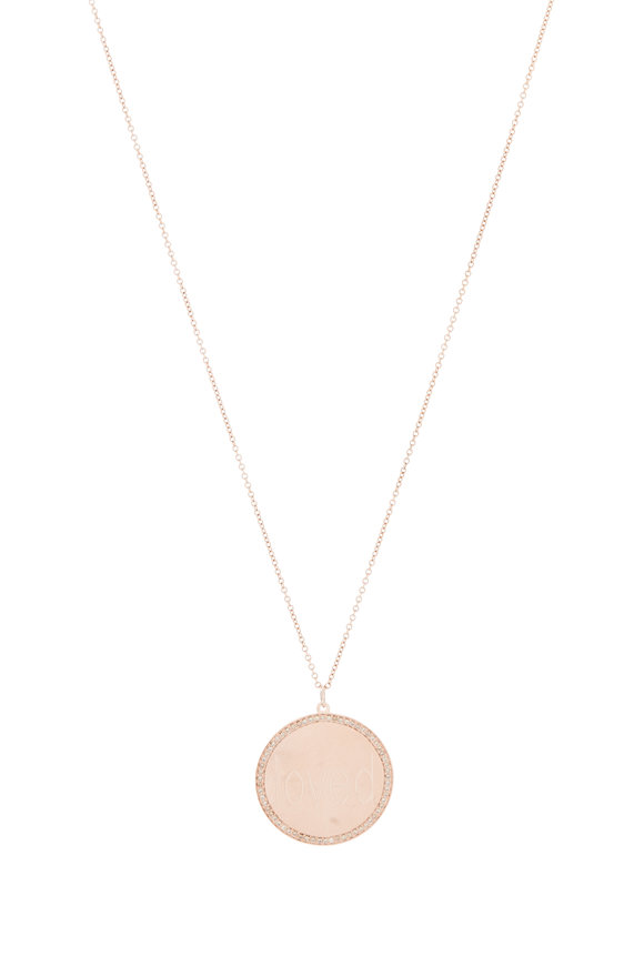 Genevieve Lau 14K Rose Gold Diamond Border Pendant