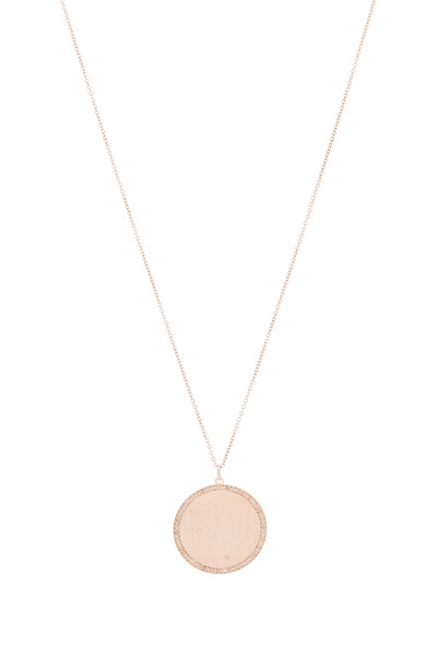 Genevieve Lau - 14K Rose Gold Diamond Border Pendant
