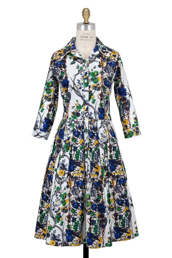 Samantha Sung Audrey Blue Queen-Mary Three-Quarter Sleeve Dress