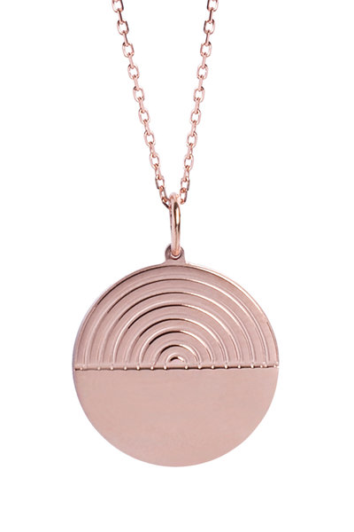 Genevieve Lau - 14K Rose Gold Rainbow Disc Pendant Necklace