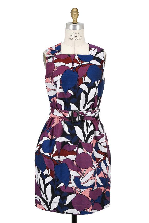 Paule Ka Multicolor Floral Jacquard Belted Sleeveless Dress