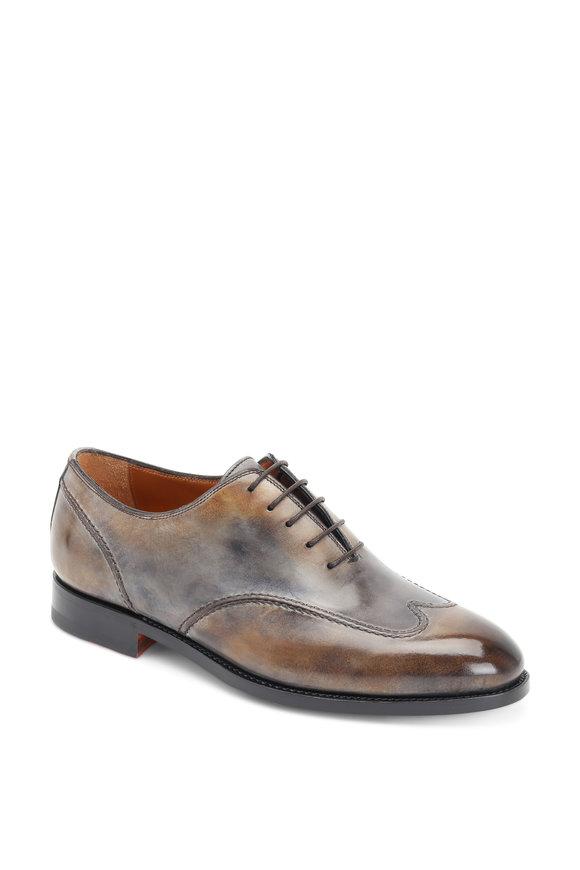 Bontoni Burnished Gray Leather Wingtip Oxford