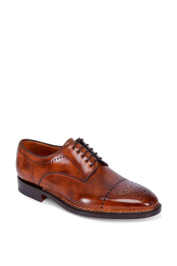 Bontoni Cognac Leather Medallion Toe Derby Shoe