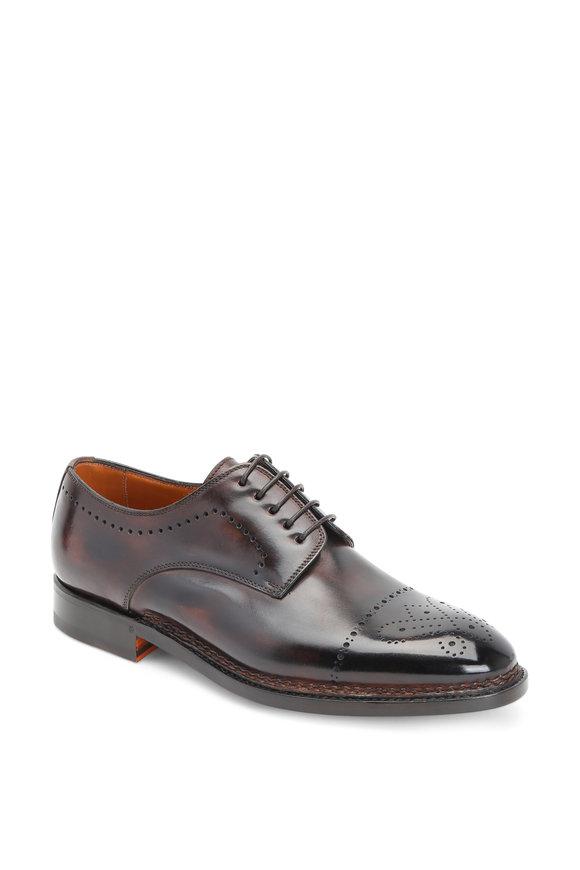 Bontoni Chocolate Leather Medallion Toe Derby Shoe