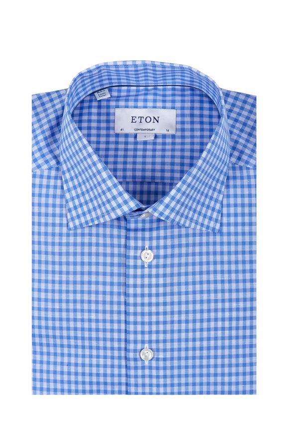 Eton Blue & White Check Cotton & Linen Dress Shirt
