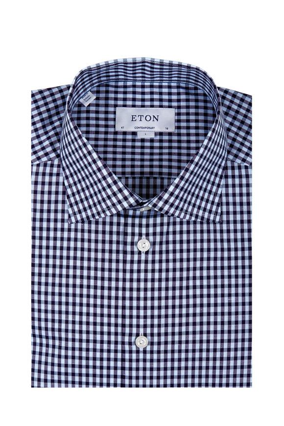 Eton Tonal Navy Blue Check Cotton & Linen Dress Shirt