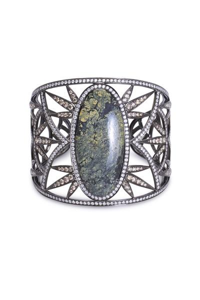 Bochic - White Gold Mongolian Agate Diamond Cuff Bracelet