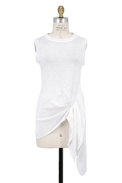 Brunello Cucinelli - White Linen Silk Pailette Gathered Side Top
