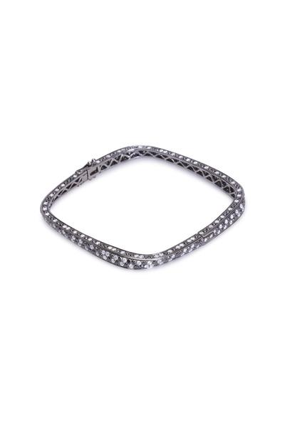 Bochic - White Gold White & Black Diamond Skinny Bracelet