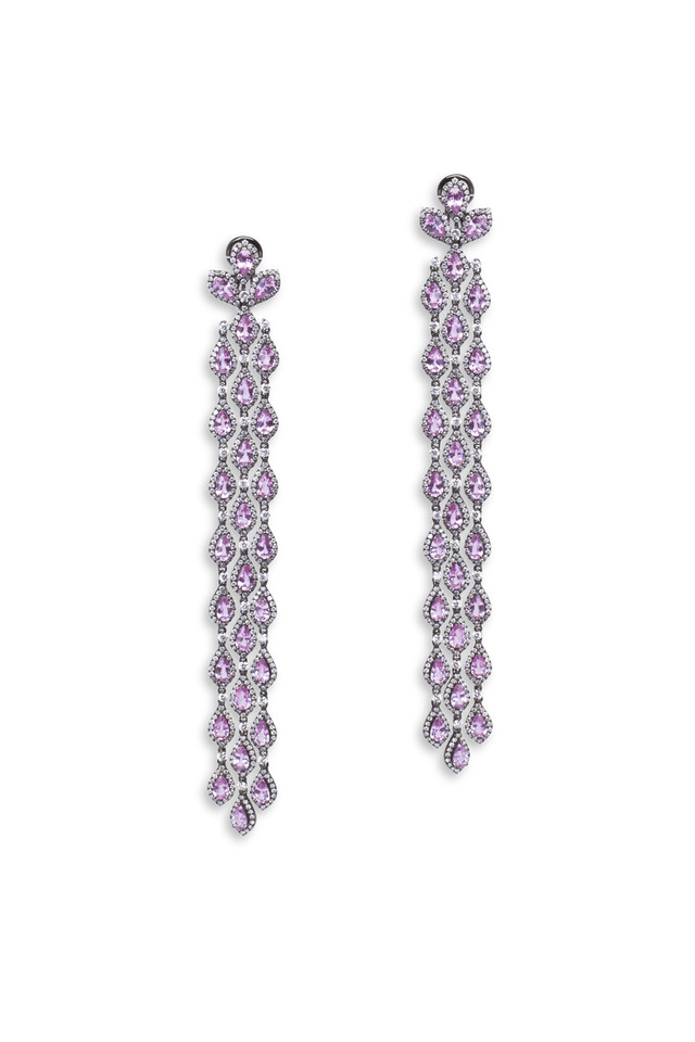 White Gold Pink Sapphire Diamond Cascade Earrings