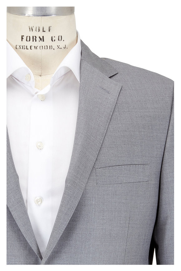 Hickey Freeman Solid Light Gray Wool Suit