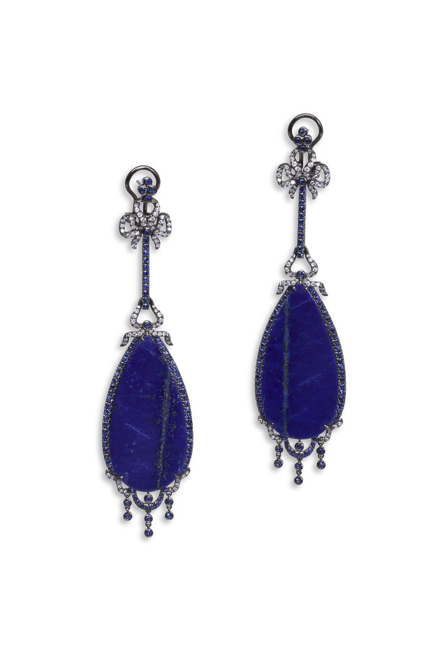 White Gold Lapis Diamond Dangle Earrings