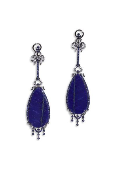 Bochic - White Gold Lapis Diamond Dangle Earrings