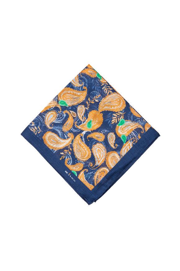 Kiton Navy & Orange Paisley Linen Pocket Square