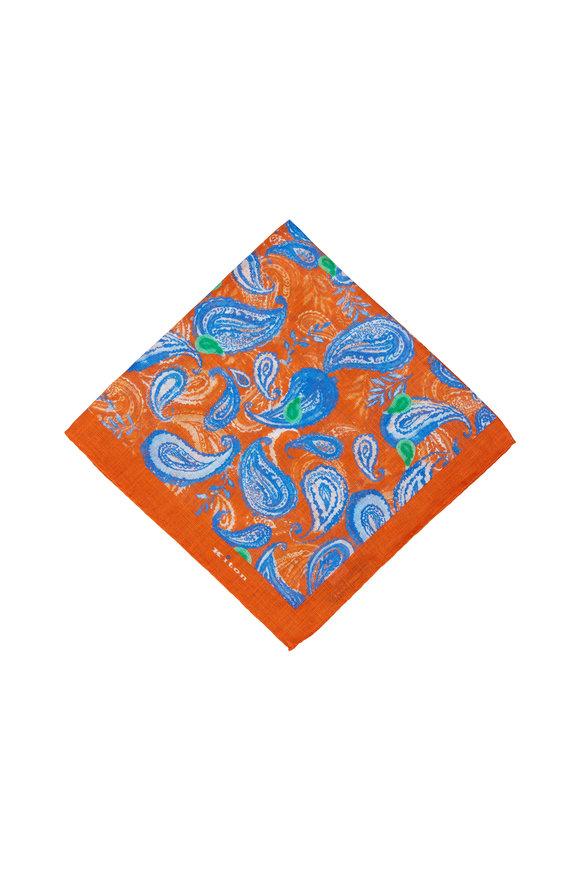 Kiton Orange & Blue Paisley Linen Pocket Square