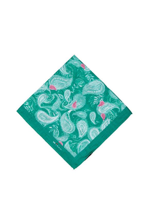 Kiton Green & Pink Paisley Linen Pocket Square