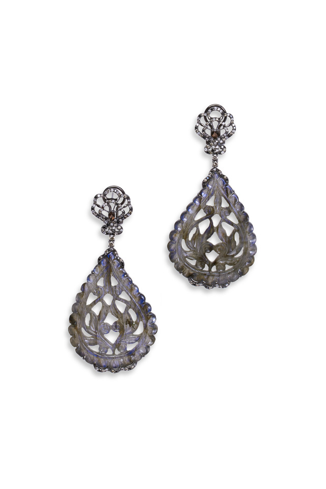 White Gold Nephrite Diamond Earrings