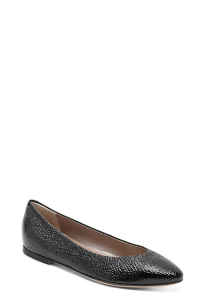 AGL - Black Crinkle Patent Leather Ballet Flat